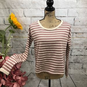 Sabo Skirt Cuffed Blush Striped Sweatshirt